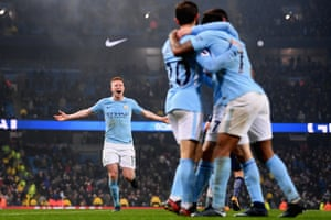 """Kevin De Bruyne runs to join the celebrations after Raheem Sterling scored the fourth goal against Tottenham. Pep Guardiola singled out De Bruyne for praise as he highlighted his work without the ball, calling it """"a good example for the young players, They know how good Kevin De Bruyne is and when they see how he runs and fights without the ball, that is the best example."""""""