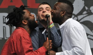 'G' Hastings (centre), Alloysious Massaquoi (right) and Kayus Bankole (left) of Young Fathers perform live on the Other stage