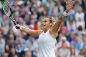 Aryna Sabalenka celebrates winning her first round match against Katie Boulter.