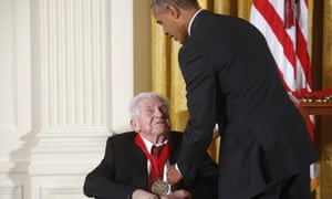 President Barack Obama awards the 2013 national humanities medal to MH Abrams, literary critic.
