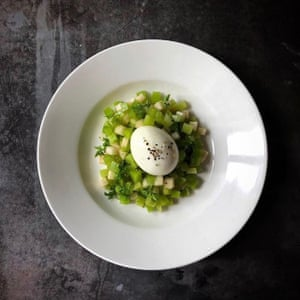 Luke Powell's cubed celtuce and apple salad with chervil and a soft boiled egg.