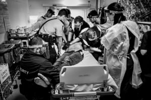 Gary Ramage's 'Ice Nation' photo which shows a man named Bill in the throes of an ice-induced medical emergency.