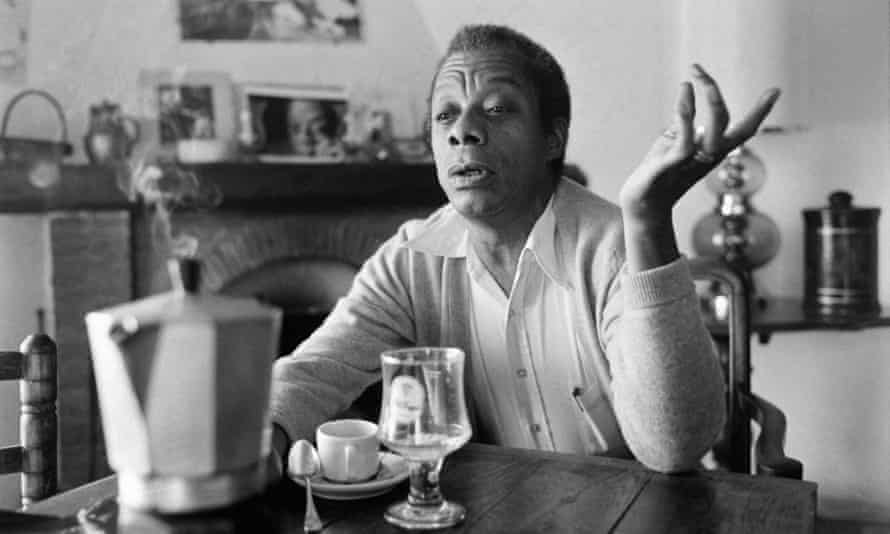 James Baldwin poses at his home in Saint-Paul-de-Vence, southern France in 1979.