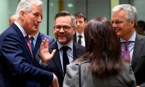 The EU's chief negotiator, Michel Barnier (left), with Germany's minister of state for Europe, Michael Roth (second left) and Belgium's foreign minister, Didier Reynders (right)