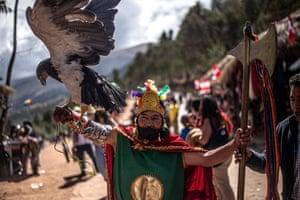 Ayacucho, Peru: Supporters of Peruvian president, Pedro Castillo, arrive to Pampa de la Quinua for the symbolic presidential investiture ceremony