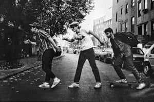 Beastie Boys 1986. They adopted photographer Ricky Powell, taking him on tour from their support slot on Run DMC's Raising Hell outing. He's even namechecked on Paul's Boutique track Car Thief: 'Like Ricky always said, you've got to toke and pass'
