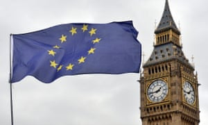 an EU flag flying in front of the Houses of Parliament in Westminster, London