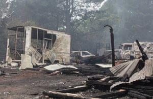 Properties and vehicles where destroyed by the bushfires on Railway Parade, Wingelllo.