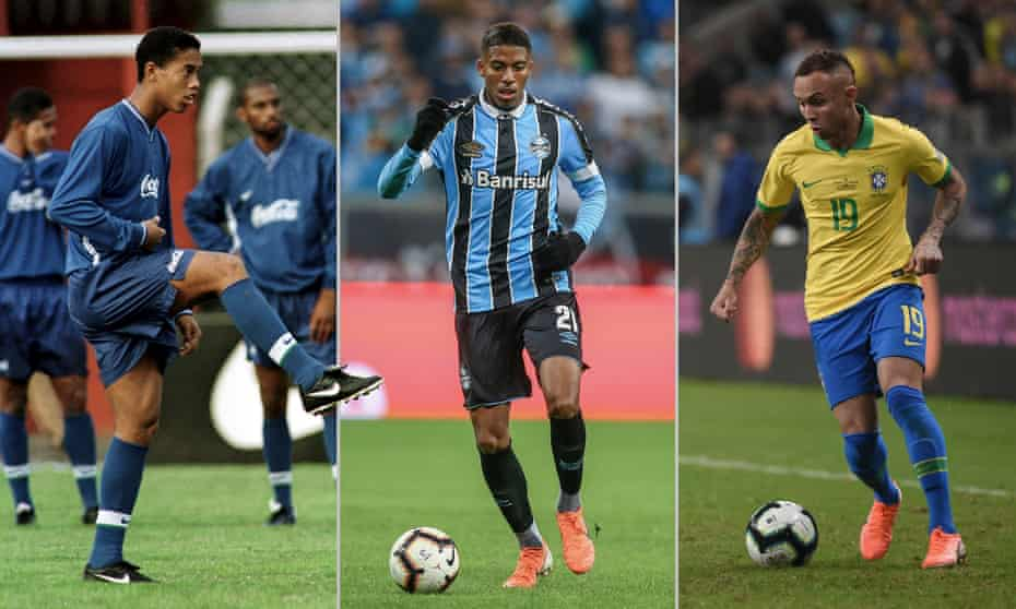 Ronaldinho, Jean Pyerre and Everton all grew up at Grêmio. Photographs by Getty Images