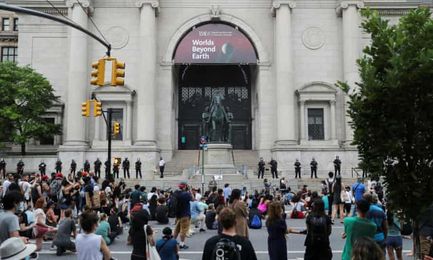 Protesters in front of the museum in the aftermath of George Floyd's death. Theodore Roosevelt IV, a great-grandson of the Roosevelt and museum trustee, said he supported the decision.