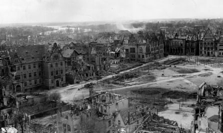 Destruction from Allied bombing in Munster, Germany, April 1945