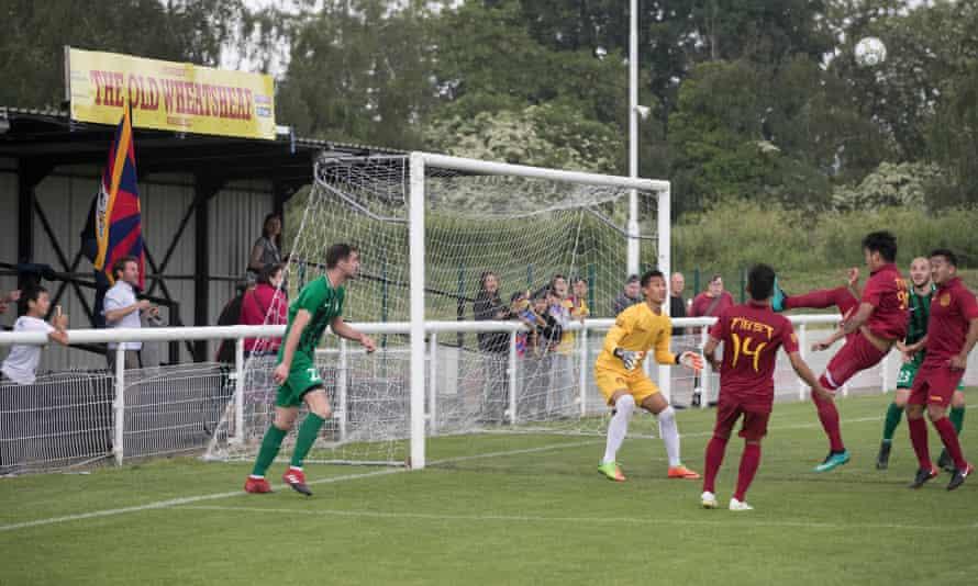 Tibet clear the ball during their match against Abkhazia.