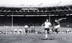 Geoff Hurst scores England's fourth goal of the 1966 World Cup final