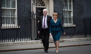 Michael Russell and Nicola Sturgeon leave 10 Downing Street after a joint ministerial committee meeting.