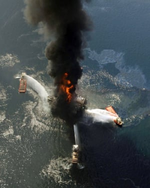 The Deepwater Horizon oil rig burning after an explosion in the Gulf of Mexico in April 2010.