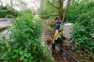 Nick Monaco continues the electrofishing survey on the Tone.