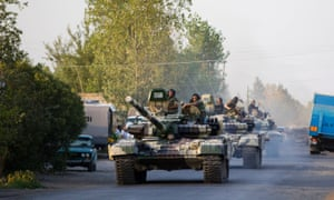 A convoy of Azerbaijan's tanks moves in the direction of Agdam, in 2014, after a sharp escalation in fighting between Azerbaijan and Armenia around a tense line of control around Nagorno-Karabakh. Photograph: Abbas Atilay /AP