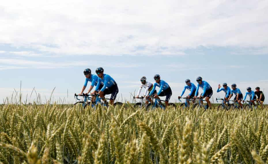 Movistar riders during a training session.
