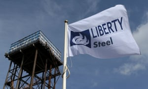 The Liberty Steel flag flies over the steel plant in Dalzell, Scotland