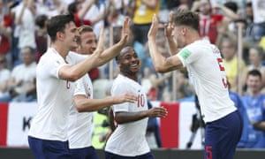 England's Harry Maguire, Harry Kane, Raheem Sterling and John Stones celebrate.