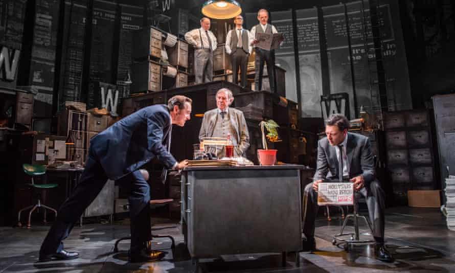 Bertie Carvel as Rupert Murdoch, Geoffrey Freshwater as Sir Alick McKay and Richard Coyle as Larry Lamb in Ink.