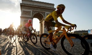 Egan Bernal wearing the overall leader's yellow jersey, in action in front of the Arc de Triomphe last year at the conclusion to the Tour de France.
