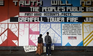A mural in memory of the victims of the Grenfell Tower fire on a wall under the Westway flyover in London on 29 June 2017