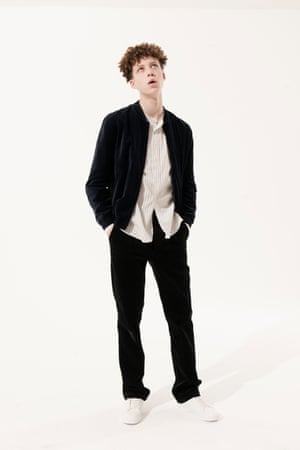 black jacket H&M, white shirt with pin stripes Margaret Howell, Black trousers Margaret Howell, white trainers lace-ups River Island