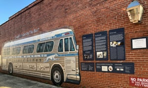 A mural in Anniston marking a spot where a bus was met and fire bombed.