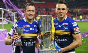 Danny McGuire (left) says life without Kevin Sinfield, (right), Jamie Peacock and Kylie Leuluai in 2016 proved harder than expected for Leeds Rhinos.