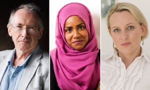 Doing deals … (from left) Ian McEwan, Nadiya Hussain and Chloé Esposito.