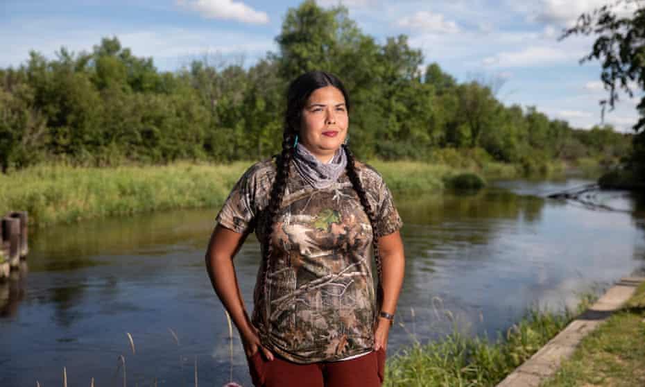 Tara Houska, a tribal attorney and advocate, outside Park Rapids, Minnesota, on 29 July 2020.