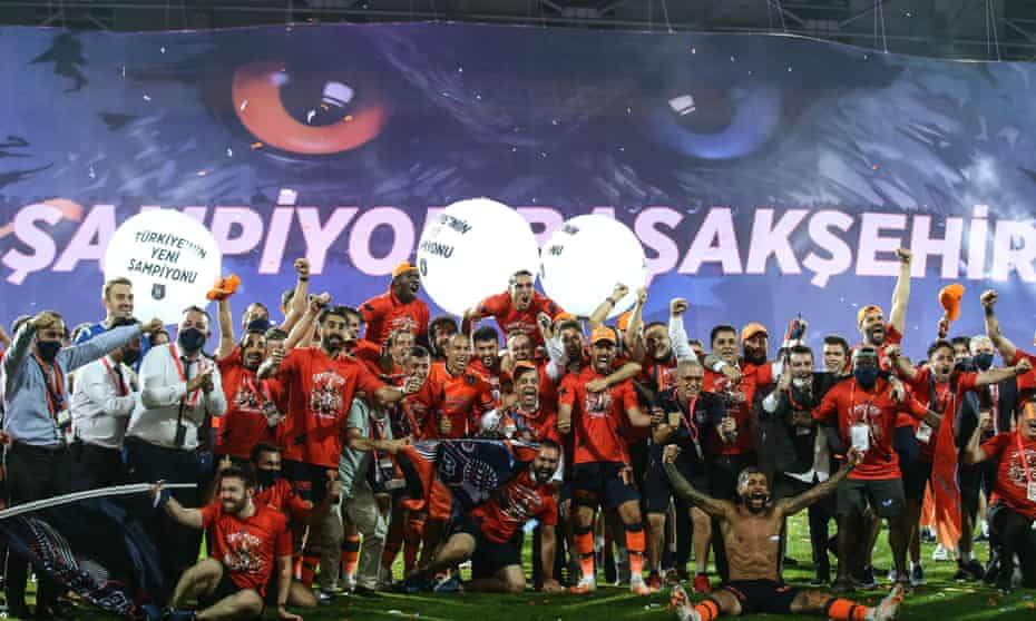 The Basaksehir players enjoy the moment on the pitch.