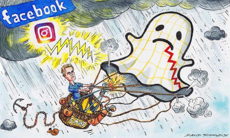 Cartoon of Evan Spiegel using a Snapchat ghost as a hot-air balloon, flying through a heavy storm