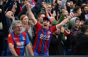 A Crystal Palace fan celebrates as Palace pick up all three points at Selhurst Park.