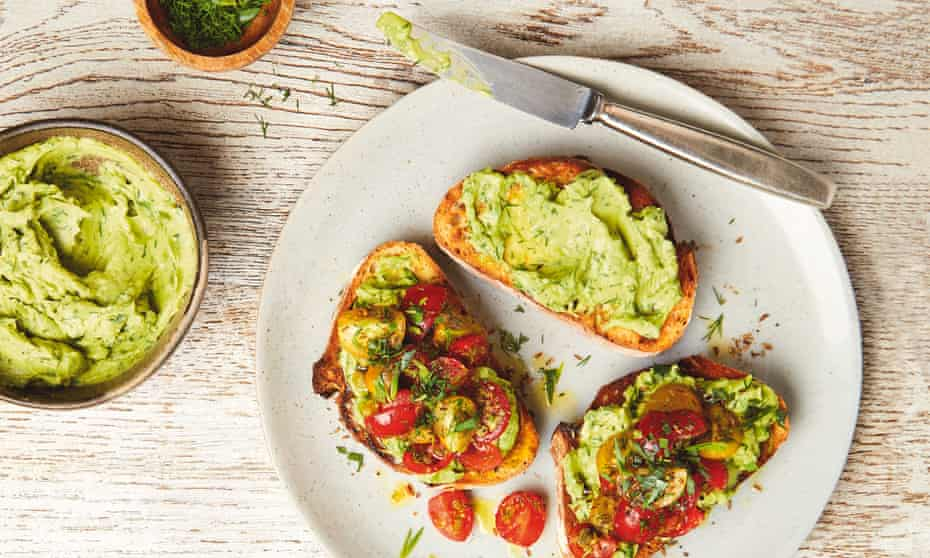 Yotam Ottolenghi's avocado butter on toast with tomato salsa.