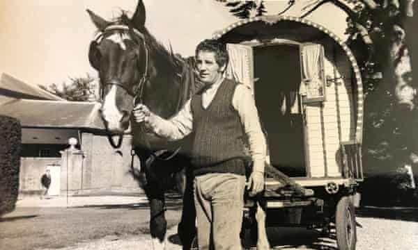 Peter Terson on the road with a horse-drawn caravan, part of his research for a play about Romany life