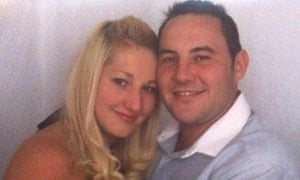 Matthew James, who is in intensive care after being shot three times, with his fiancee Saera Wilson.