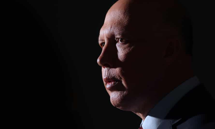 Home Affairs minister Peter Dutton at a press conference in the mural hall of Parliament House Canberra 14 May 2020.