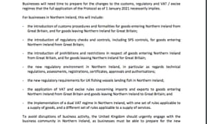 European Commission list of preparations businesses face following first specialised committee meeting on Ireland/Northern Ireland Brexit protocol