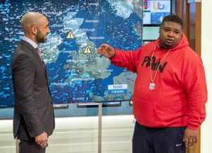 You are my sunshine: Big Narstie presenting the weather on Good Morning Britain.