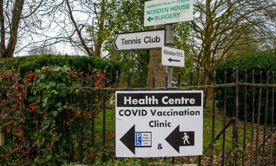 Sign for a vaccination centre in Buckinghamshire.