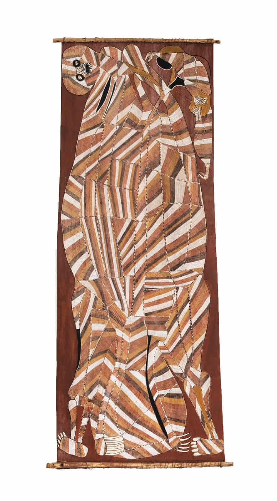 Nawarramulmul (Shooting star spirit) 1988. Earth pigments on Stringybark (Eucalyptus tetrodonta). Purchased with funds donated by Mr and Mrs Jim Bain, 1989.
