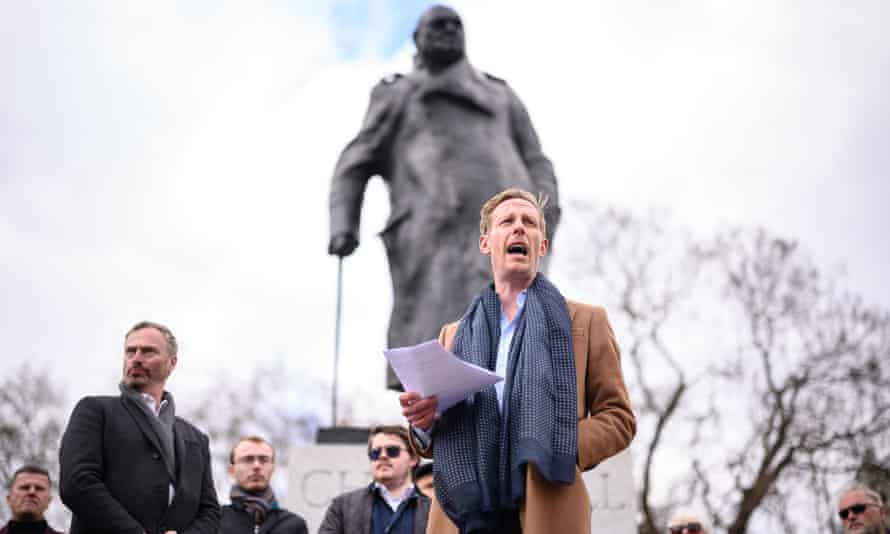 Laurence Fox launches his mayoral manifesto in front of the statue of Churchill in Parliament Square, London