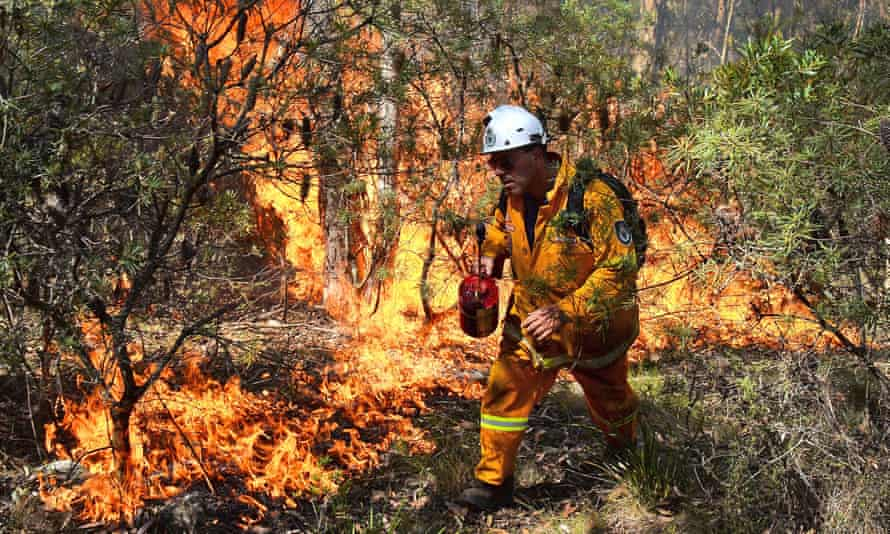 a firefighter lighting a back burn near Mount Victoria in the Blue Mountains.