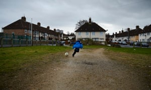 A boy playing in the borough of Knowsley in Merseyside, one of the most deprived council areas in the UK