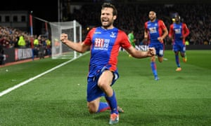 Yohan Cabaye celebrates scoring the second goal for Palace.
