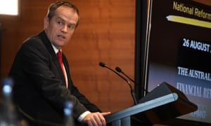 The Labor leader, Bill Shorten, addresses the national reform summit business forum in Sydney on Wednesday.