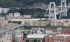 the Morandi highway bridge after a section of it collapsed, in Genoa, northern Italy.