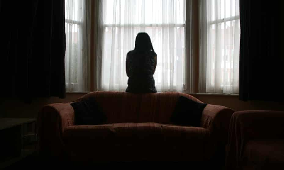 Silhouette of an abuse victim posed by model